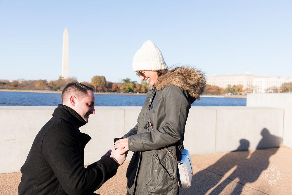 Washington D.C. Thomas Jefferson Memorial surprise sunset engagement silhouette photo of engaged couple