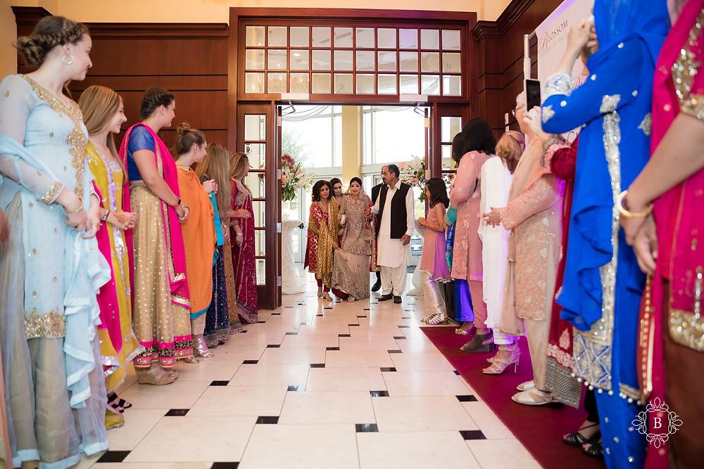 Northern Virginia Desi South Asian Cherry Blossom Restaurant wedding reception bride entrance