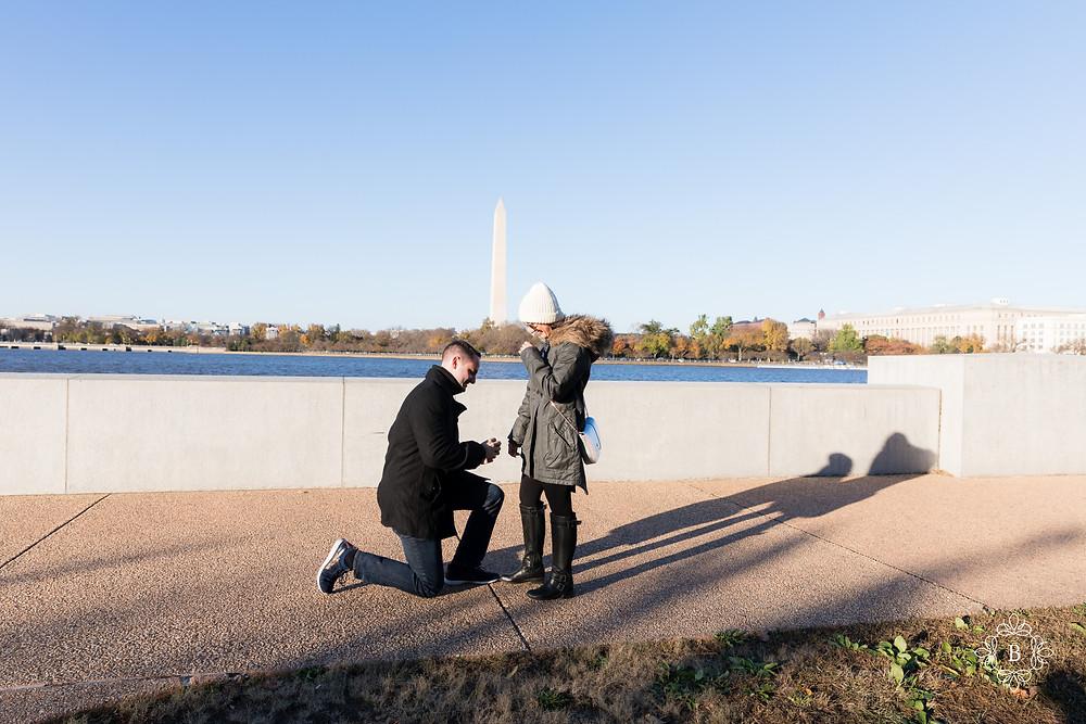 Washington D.C. Thomas Jefferson Memorial surprise sunset engagement