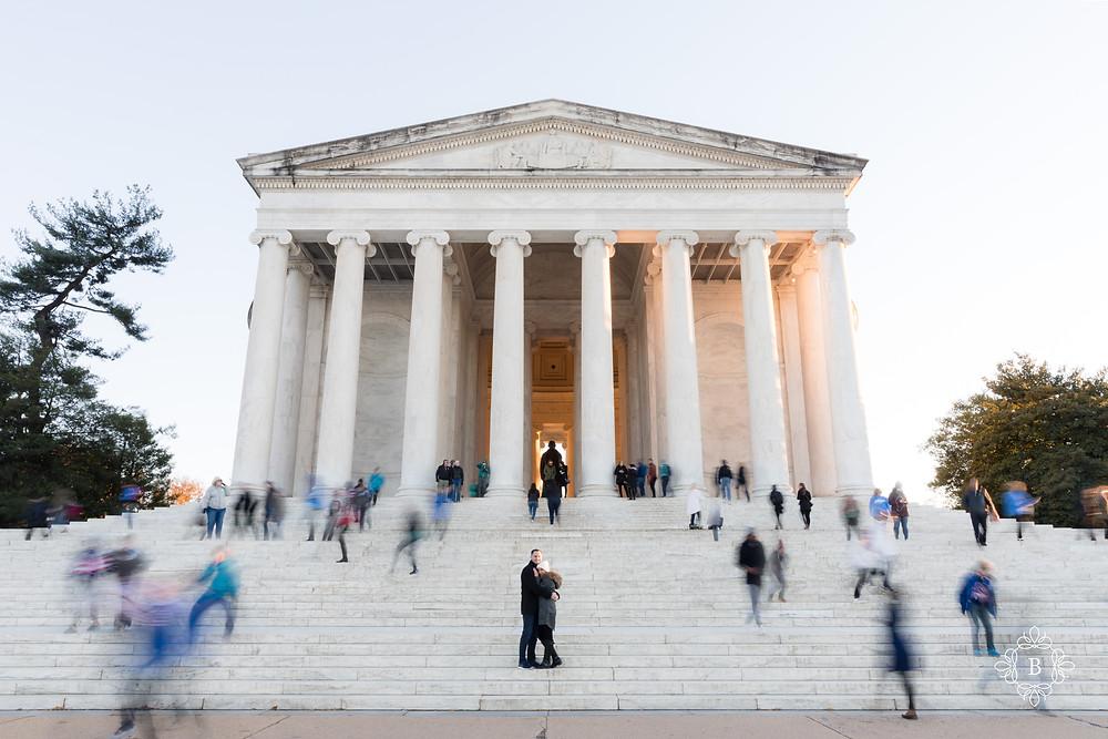 Washington D.C. Thomas Jefferson Memorial surprise sunset engagement happily engaged couple a moment frozen in time