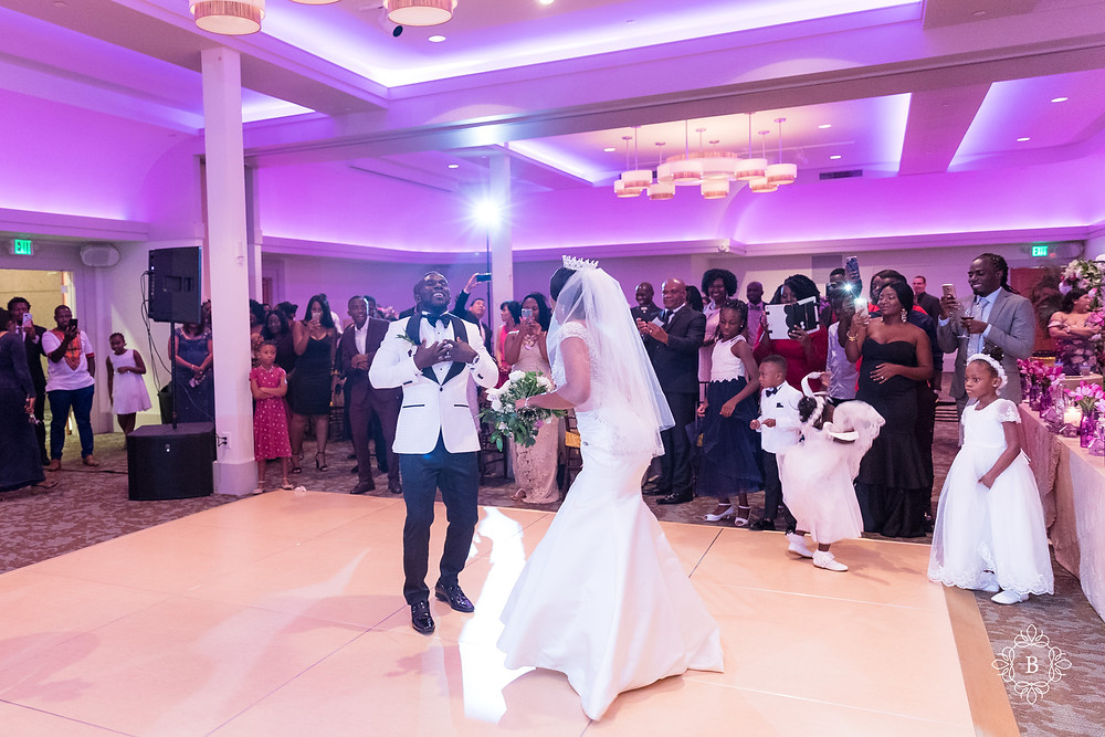 Northern Virginia Culpeper Center and Suites wedding reception bride and groom entrance