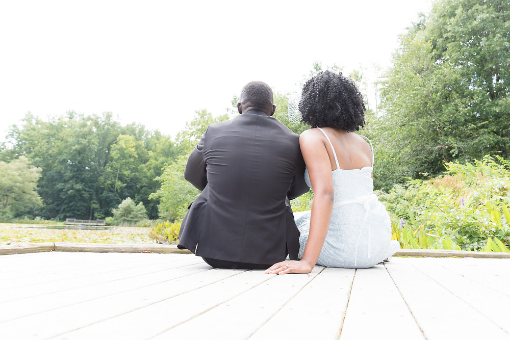Engaged couple at Walney Pond in Ellanor C. Lawrence park.