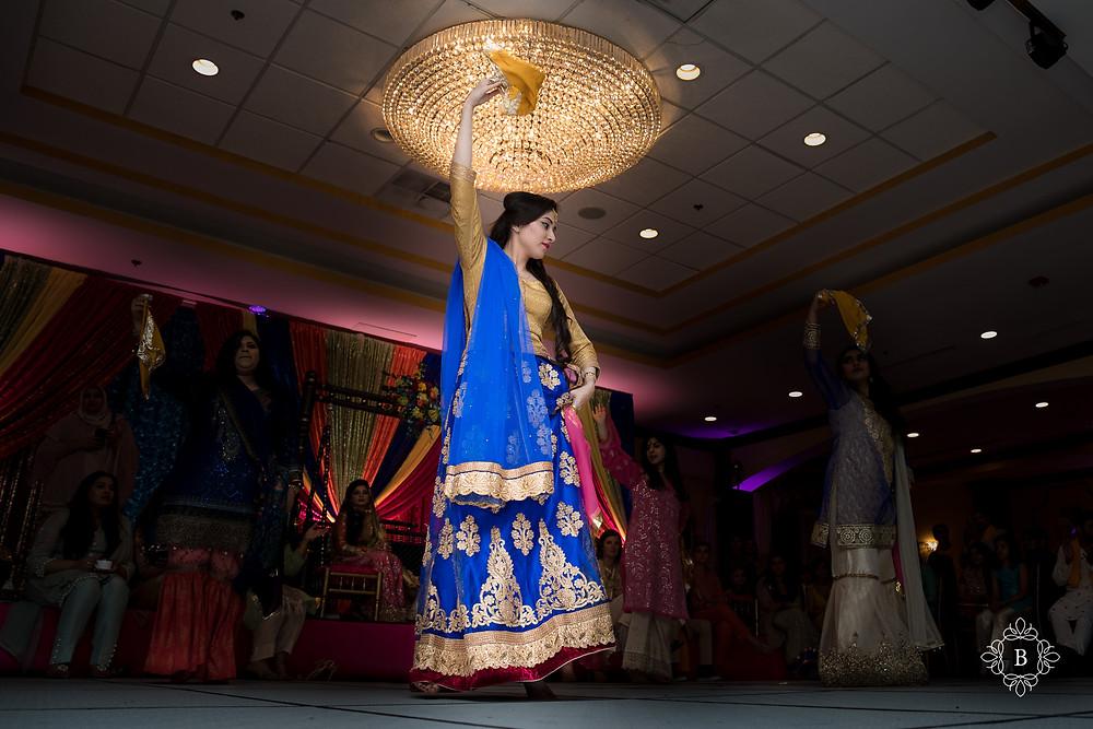 Northern Virginia Desi South Asian Mehndi ceremony dance performance Cherry Blossom Restaurant
