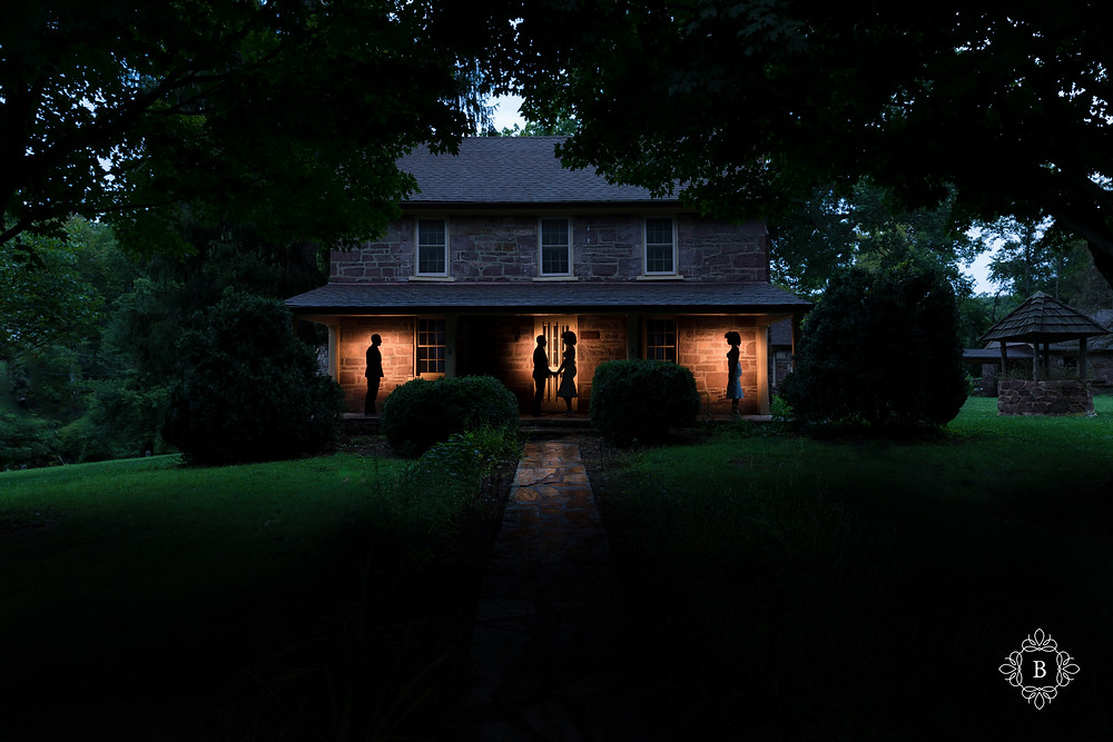 Silhouette photo of engagement session at Middlegate Manor in Cabell's Mill