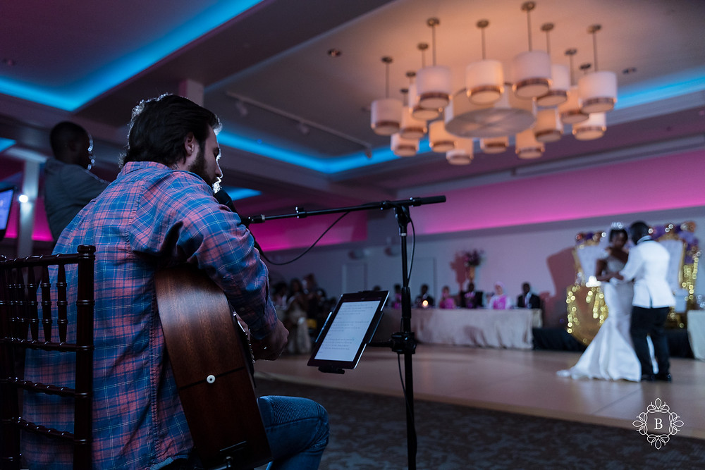 Northern Virginia Culpeper Center and Suites wedding reception bride and groom first dance Bailey Hayes guitarist