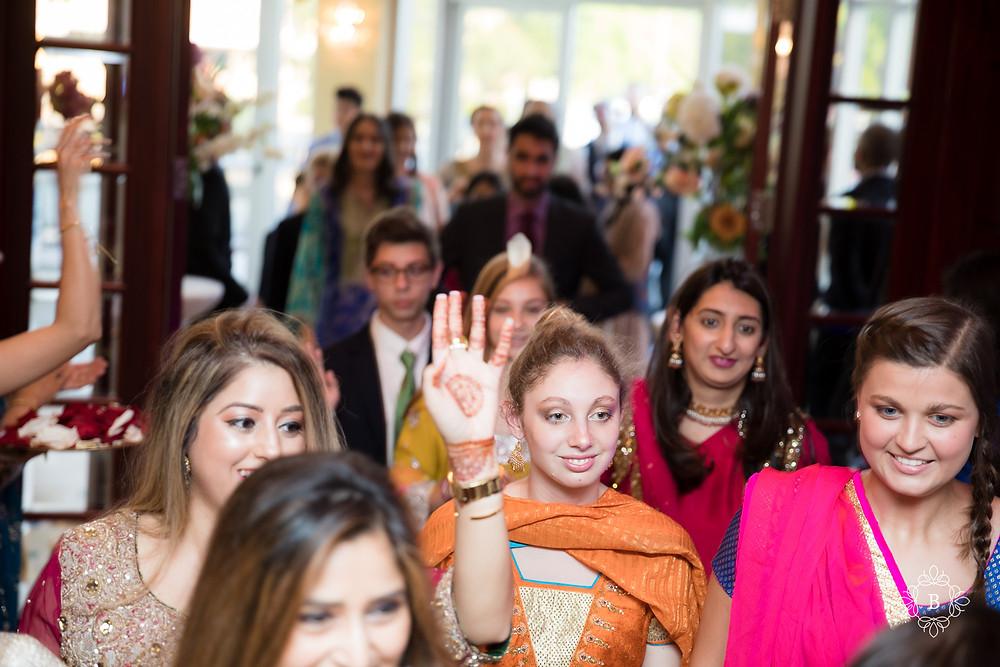 Northern Virginia Desi South Asian Cherry Blossom Restaurant wedding reception groom barat