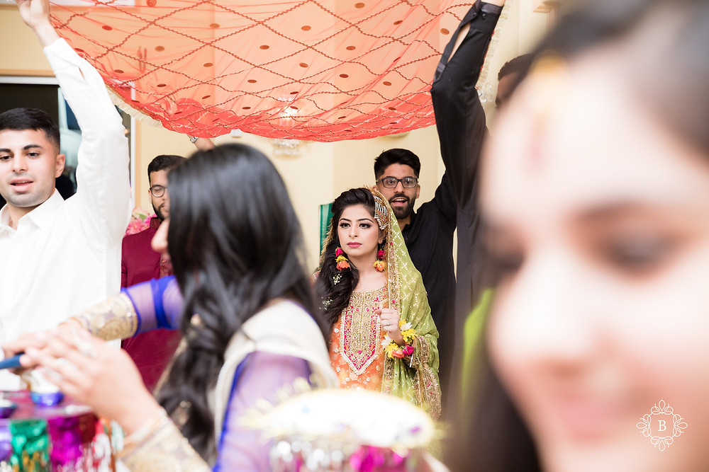 Northern Virginia Desi South Asian Mehndi ceremony bride entrance Cherry Blossom Restaurant