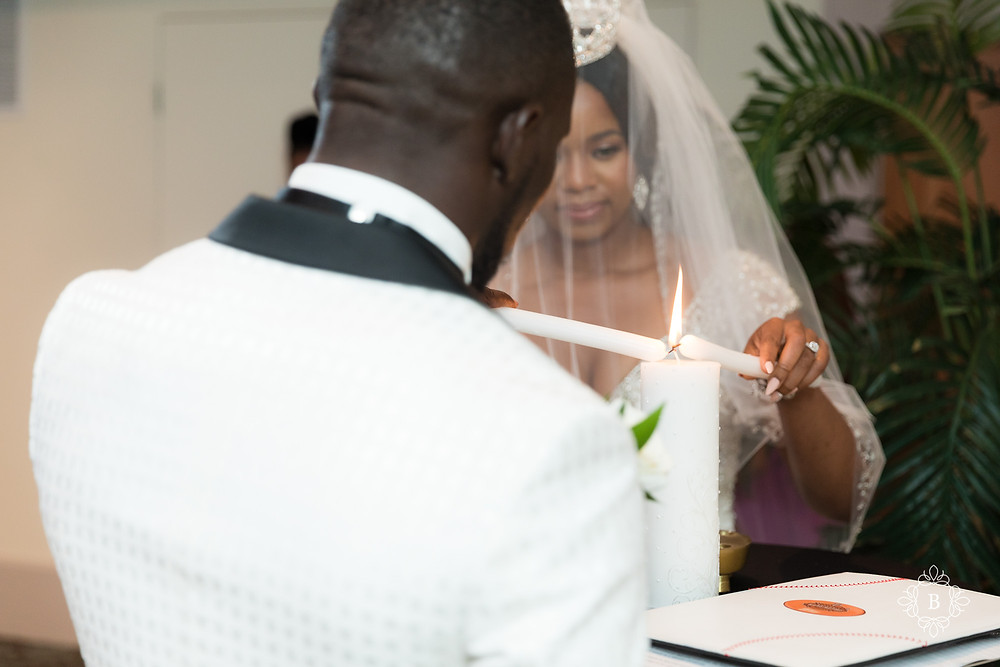 Northern Virginia Culpeper Center and Suites wedding ceremony bride and groom lighting unity candle