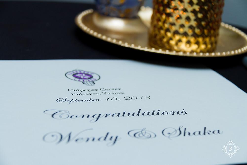 Northern Virginia Culpeper Center and Suites venue reception details wedding program