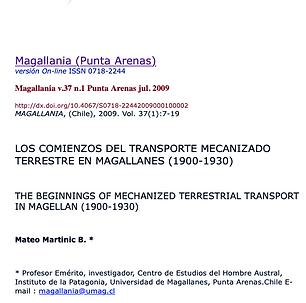 LOS COMIENZOS DEL TRANSPORTE MECANIZADO TERRESTRE EN MAGALLANES (1900-1930)