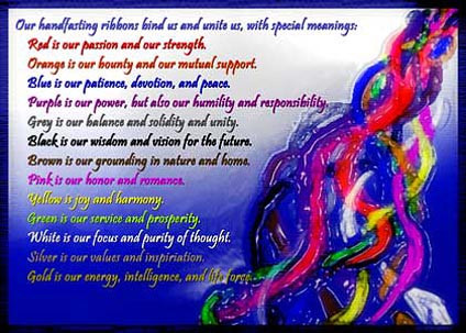 The meaning of the ribbon colours in a hand fasting ceremony