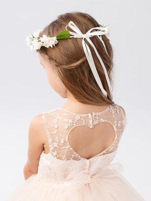 Heart Keyhole Back Flower Girl Dress