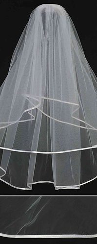 Simple 1/4 inch Satin Ribbon Edge Veil