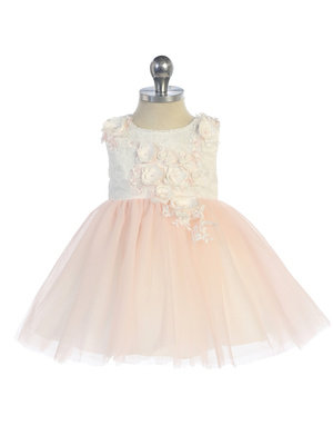 3-D Lace Bodice Flower Girl Dress