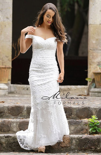 Corded Lace Off Shoulder Mermaid Wedding Gown