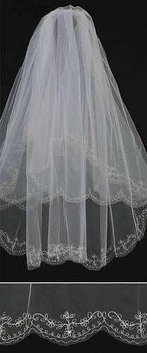 Embroidered Edge Veil with Rhinestone Accents