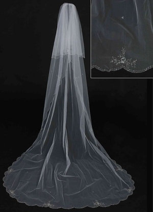 Cathedral Length Veil with Floral Beadwork