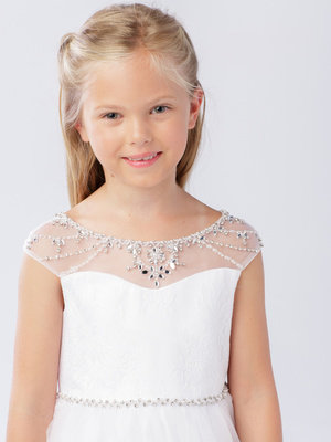 Illusion Neckline Mini Bride/Flower Girl Dress