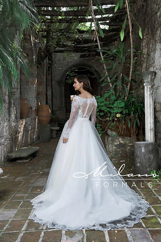 Long Sleeve Tulle Ballgown with Lace Trim