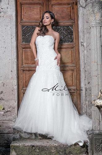 Tulle Drop Waist Wedding Gown