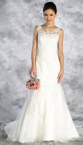 Sleeveless Lace Trumpet Gown with Illusion Top