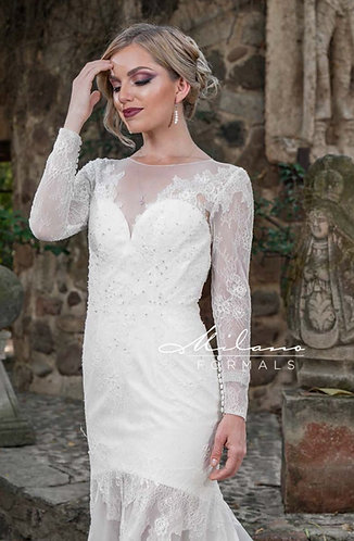 Long Sleeve Sheer Illusion Wedding Gown