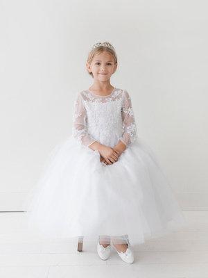 Long Sleeve Lace Applique Mini Bride/Flower Girl Dress