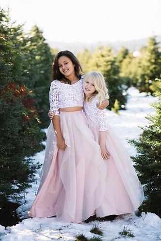 Lace and Organza Flutter Skirt Flower Girl Dress