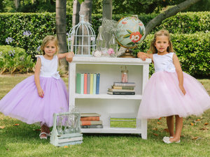 Two Tone Satin and Glitter Tulle Flower Girl Dress