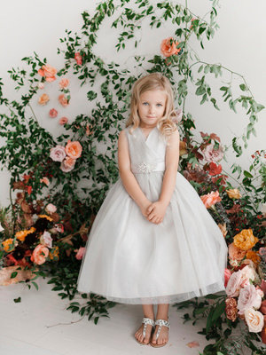 Glitter Tulle Flower Girl Dress