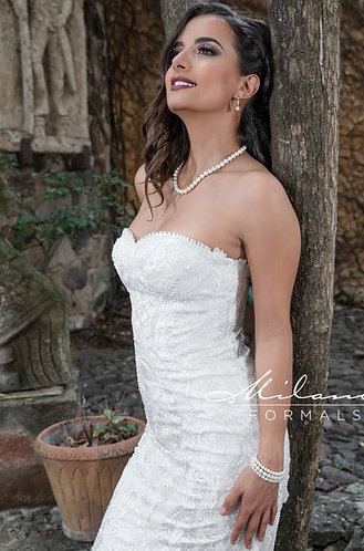 Embroidered Strapless Wedding Gown