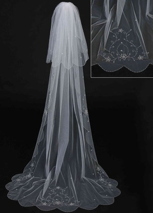 Cathedral Length Veil with Large Floral Motifs