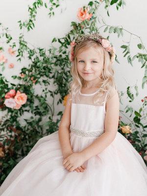Illusion Neckline Flower Girl Dress