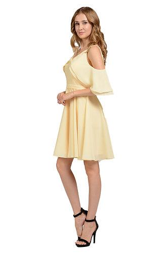 Pebble Georgette short Bridesmaid Dress