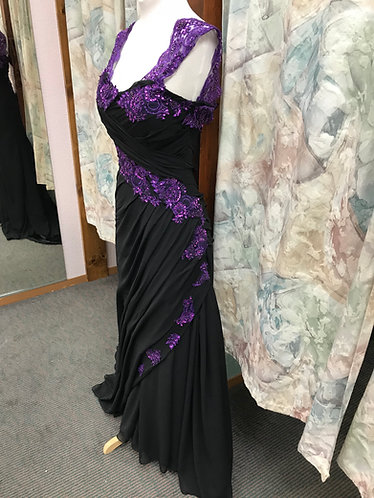 Black Chiffon with Purple Accent Wedding Gown
