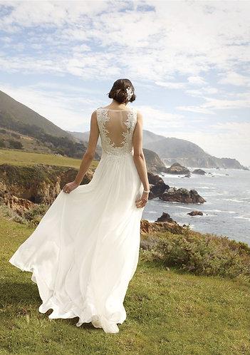 Soft Chiffon Illusion Back Sheath Wedding Gown