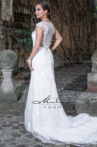 Illusion Back Fit n' Flare Wedding Gown