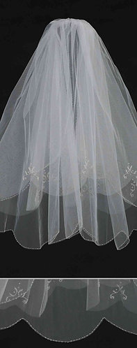 Bridal Veil with Floral Motif Bead Accent on Top Layer and Beaded Scalloped Edge