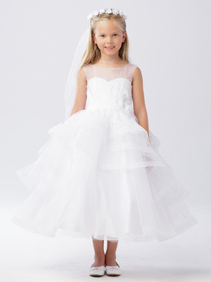 a82d7543d481 White Mini Bride Flower Girl/Communion Dress
