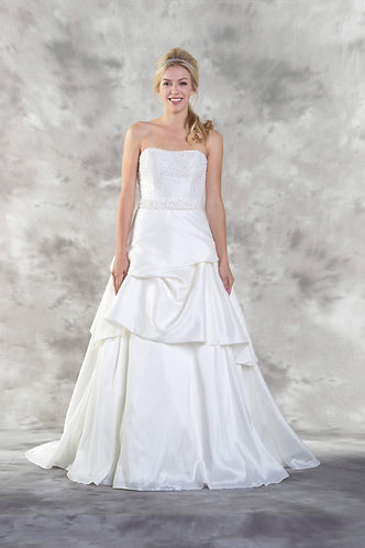 Strapless Wedding gown with pearl beading