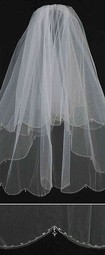 Scallop Edge Beaded Veil