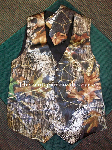Men's Satin Camo Vest and Tie Combo