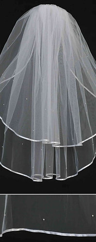 Classic 1/4 inch Satin Ribbon Edge Veil with Pearl Accents
