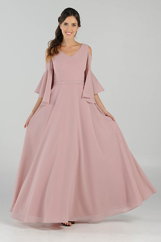 Pebble Georgette Long Bridesmaid Dress with cold shoulder sleeve