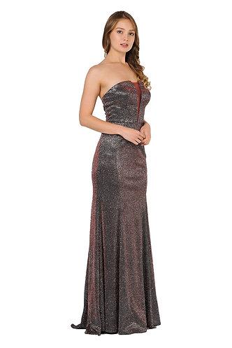 Strapless Metallic Glitter Knit Prom Gown