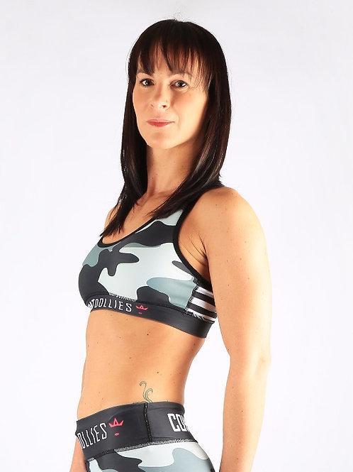 Grey Camo Stripe Sports Bra