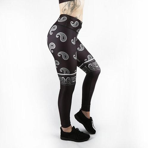 Black Paisley Fitness Leggings