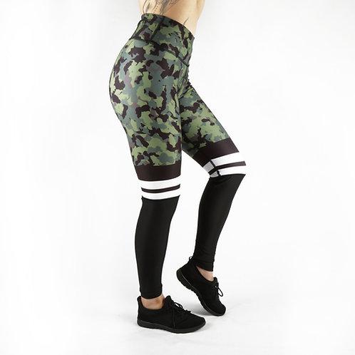 Khaki Camo Half Mesh Fitness Leggings