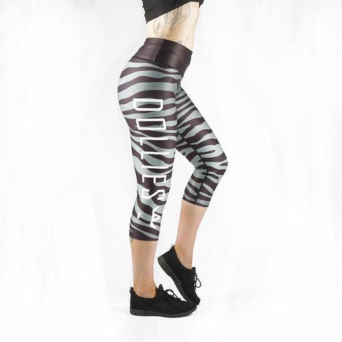 Grey Zebra Capri Fitness Leggings
