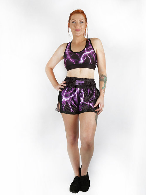 Purple Lightning Fight Shorts
